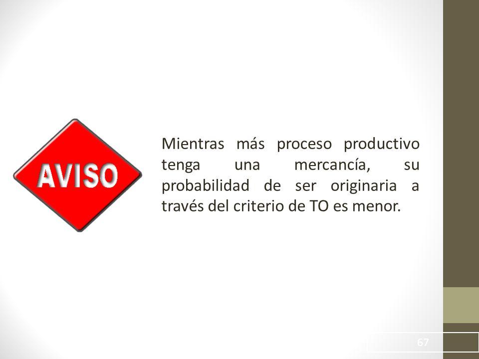 Mientras más proceso productivo tenga una mercancía, su probabilidad de ser originaria a través del criterio de TO es menor.