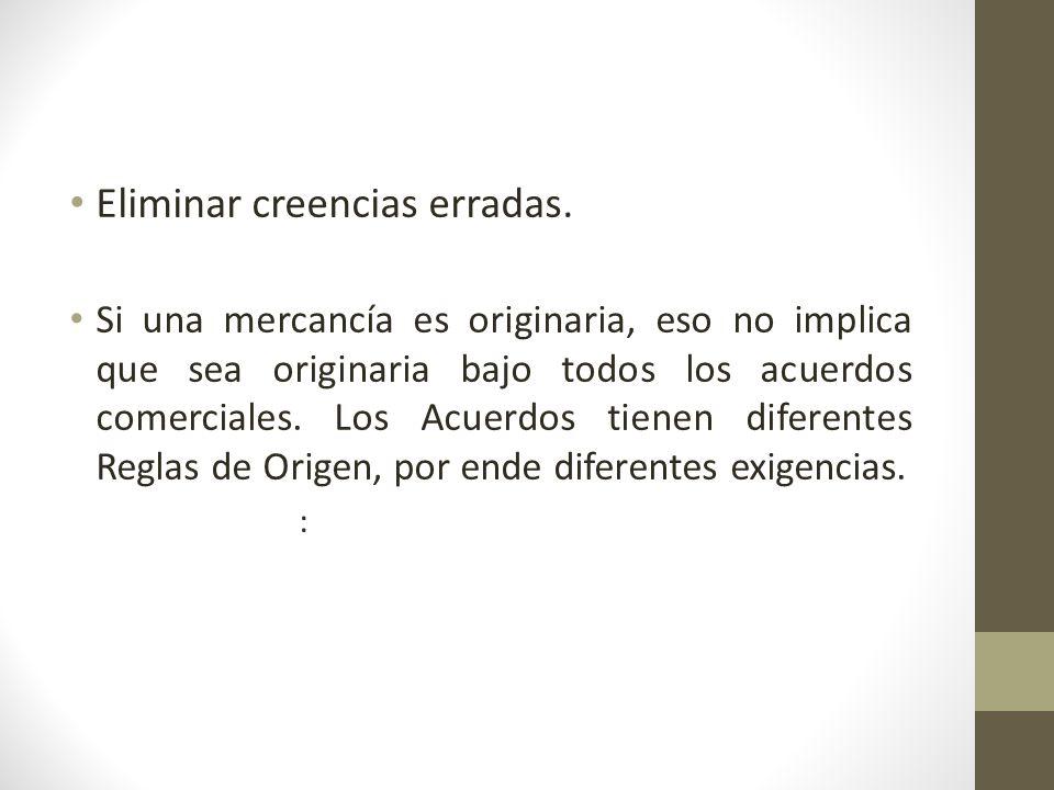 Criterios de Calificación de Origen 68 Criterios TO REO Existe un listado de operaciones o procesos.