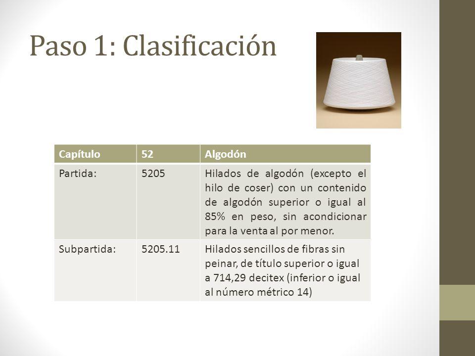 Paso 1: Clasificación Capítulo52Algodón Partida:5205Hilados de algodón (excepto el hilo de coser) con un contenido de algodón superior o igual al 85% en peso, sin acondicionar para la venta al por menor.