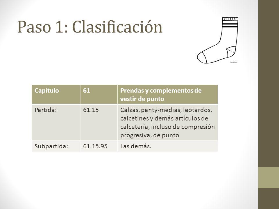 Paso 1: Clasificación Capítulo61Prendas y complementos de vestir de punto Partida:61.15Calzas, panty-medias, leotardos, calcetines y demás artículos de calcetería, incluso de compresión progresiva, de punto Subpartida:61.15.95Las demás.