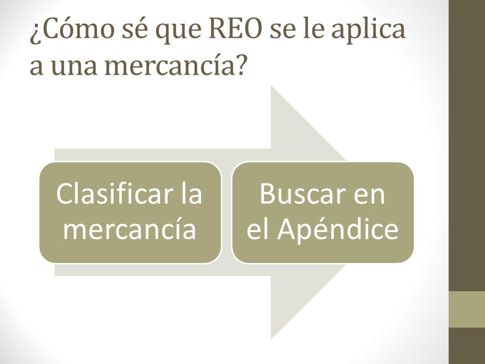 ¿Cómo sé que REO se le aplica a una mercancía? Clasificar la mercancía Buscar en el Apéndice