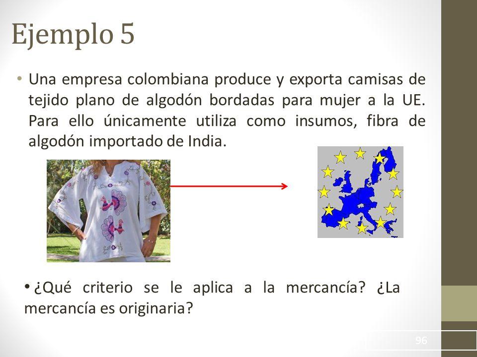 Una empresa colombiana produce y exporta camisas de tejido plano de algodón bordadas para mujer a la UE.