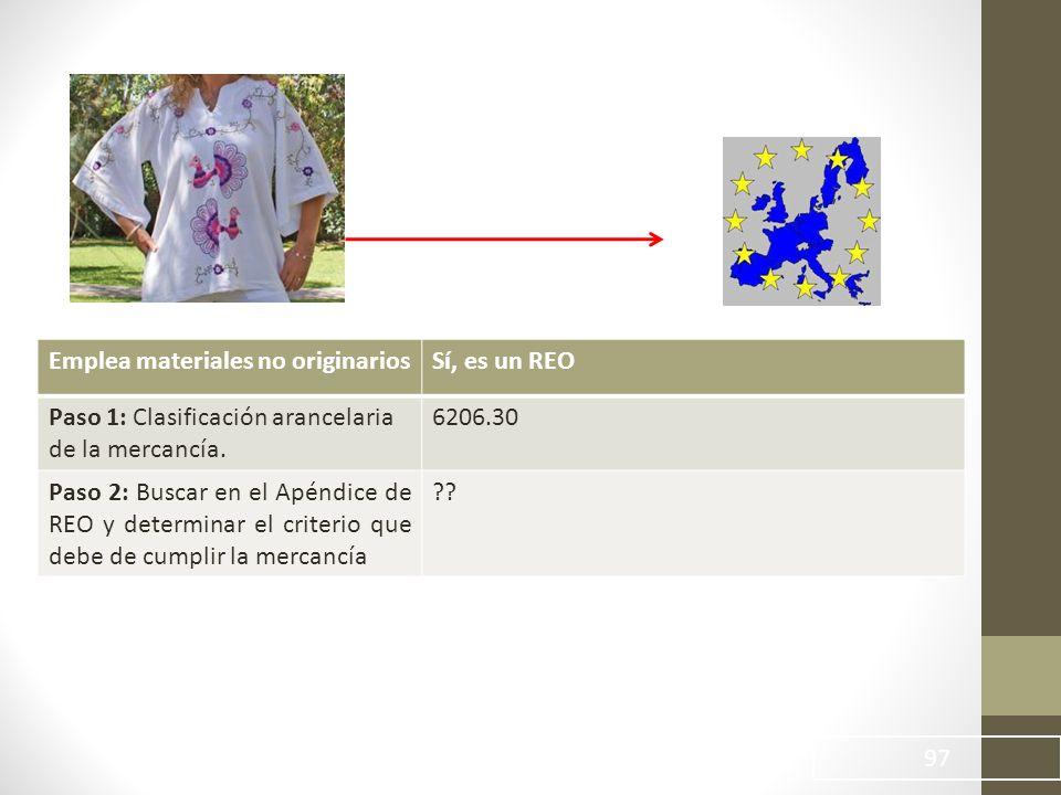 97 Emplea materiales no originariosSí, es un REO Paso 1: Clasificación arancelaria de la mercancía.