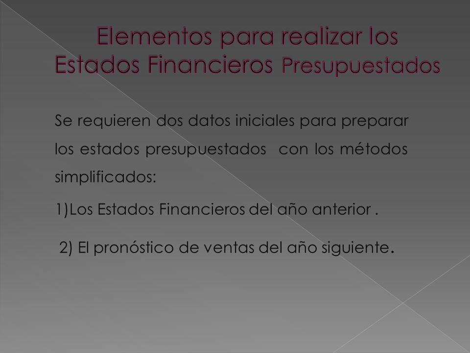 Se requieren dos datos iniciales para preparar los estados presupuestados con los métodos simplificados: 1)Los Estados Financieros del año anterior. 2