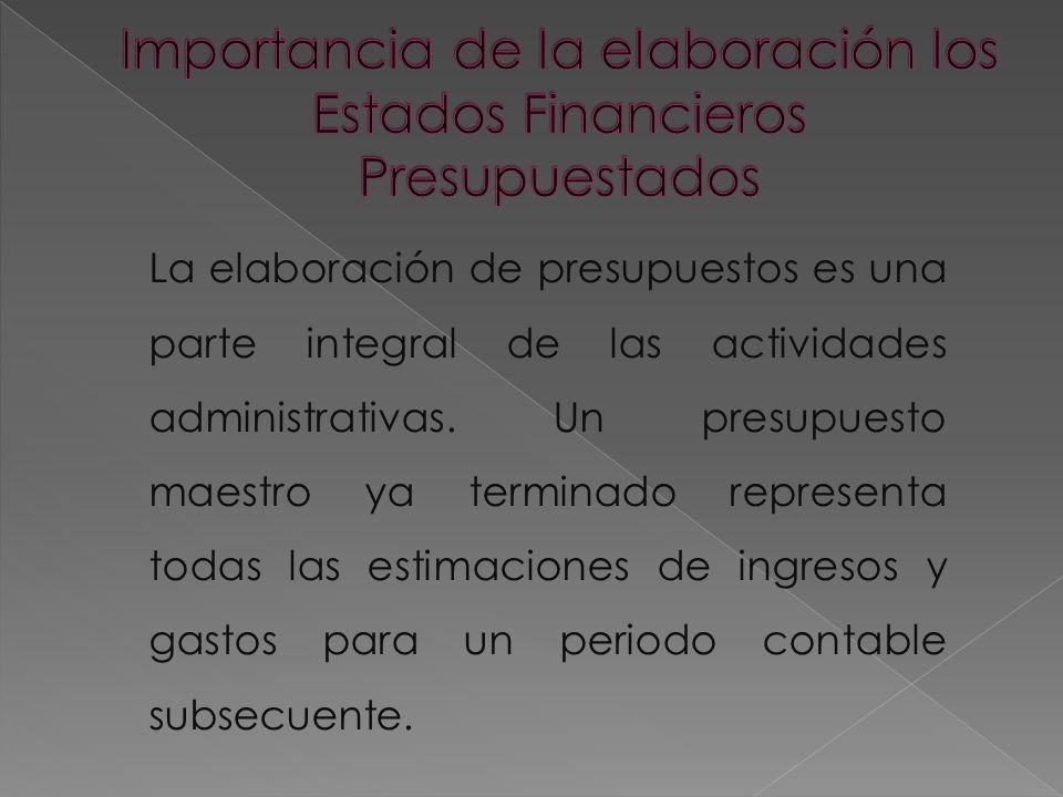 La elaboración de presupuestos es una parte integral de las actividades administrativas.
