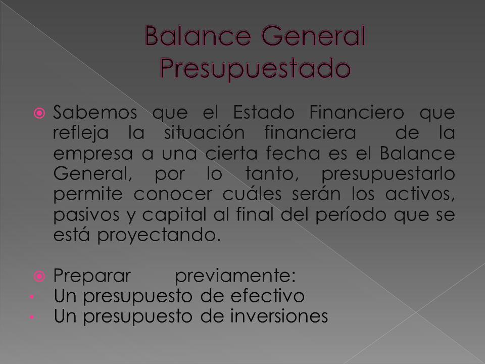 Sabemos que el Estado Financiero que refleja la situación financiera de la empresa a una cierta fecha es el Balance General, por lo tanto, presupuestarlo permite conocer cuáles serán los activos, pasivos y capital al final del período que se está proyectando.