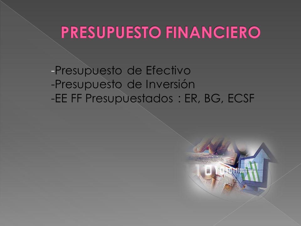 -Presupuesto de Efectivo -Presupuesto de Inversión -EE FF Presupuestados : ER, BG, ECSF