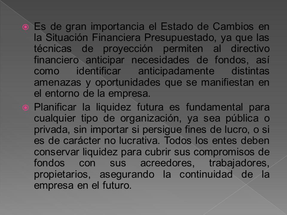 Es de gran importancia el Estado de Cambios en la Situación Financiera Presupuestado, ya que las técnicas de proyección permiten al directivo financie