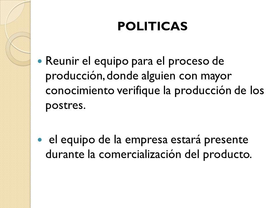 POLITICAS Reunir el equipo para el proceso de producción, donde alguien con mayor conocimiento verifique la producción de los postres. el equipo de la