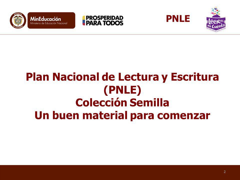2 Plan Nacional de Lectura y Escritura (PNLE) Colección Semilla Un buen material para comenzar PNLE