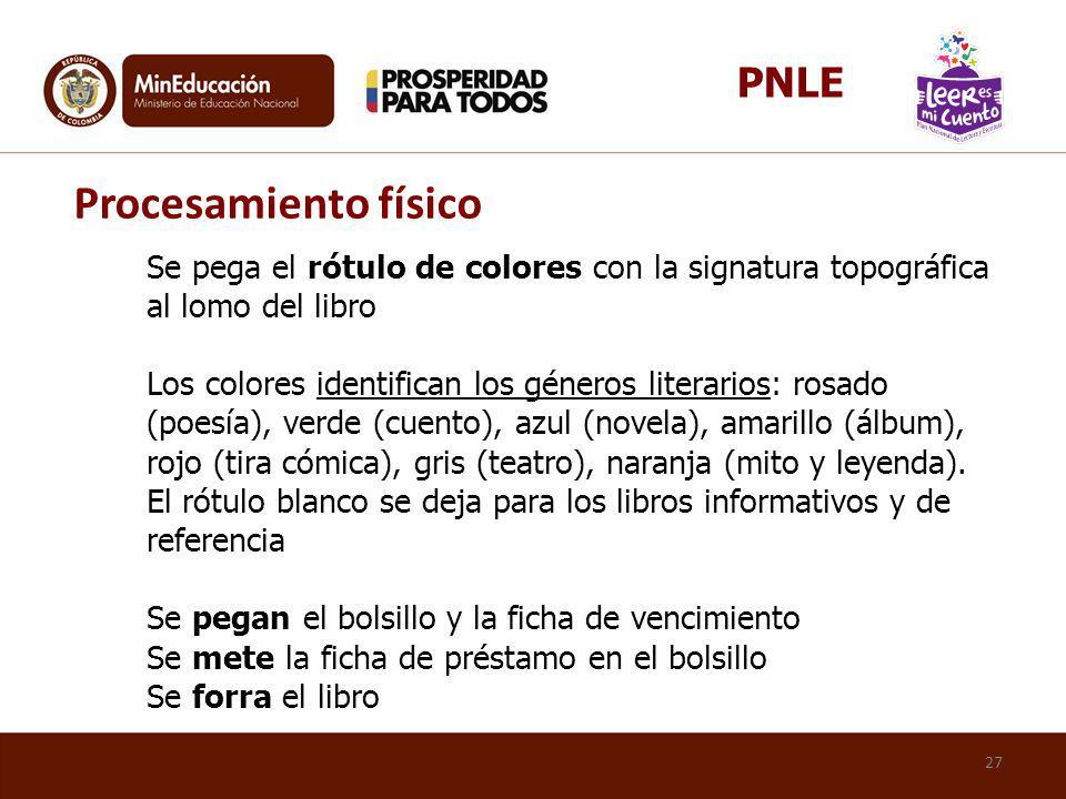 Se pega el rótulo de colores con la signatura topográfica al lomo del libro Los colores identifican los géneros literarios: rosado (poesía), verde (cu