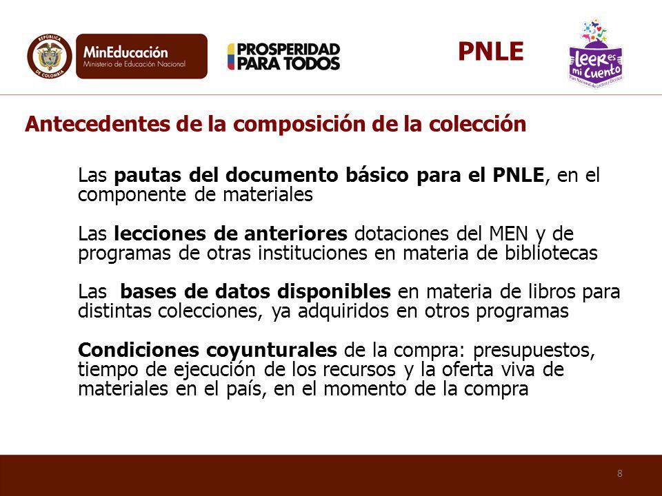 Antecedentes de la composición de la colección Las pautas del documento básico para el PNLE, en el componente de materiales Las lecciones de anteriore