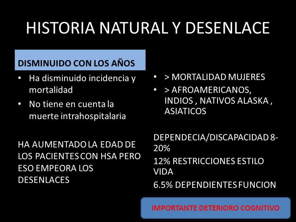 HISTORIA NATURAL Y DESENLACE DISMINUIDO CON LOS AÑOS Ha disminuido incidencia y mortalidad No tiene en cuenta la muerte intrahospitalaria HA AUMENTADO LA EDAD DE LOS PACIENTES CON HSA PERO ESO EMPEORA LOS DESENLACES > MORTALIDAD MUJERES > AFROAMERICANOS, INDIOS, NATIVOS ALASKA, ASIATICOS DEPENDECIA/DISCAPACIDAD 8- 20% 12% RESTRICCIONES ESTILO VIDA 6.5% DEPENDIENTES FUNCION IMPORTANTE DETERIORO COGNITIVO