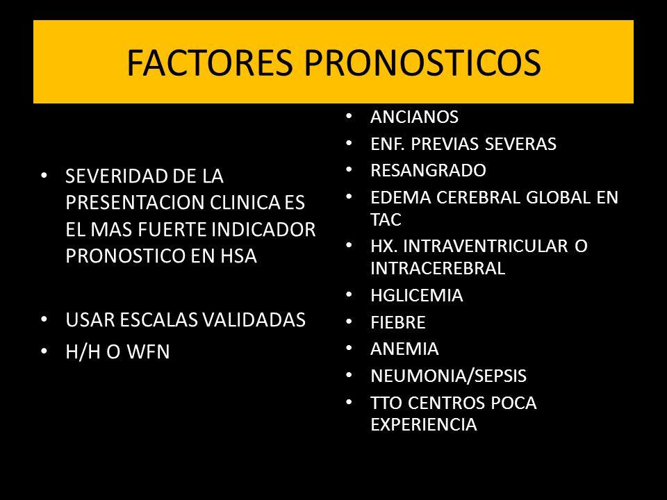 FACTORES PRONOSTICOS SEVERIDAD DE LA PRESENTACION CLINICA ES EL MAS FUERTE INDICADOR PRONOSTICO EN HSA USAR ESCALAS VALIDADAS H/H O WFN ANCIANOS ENF.