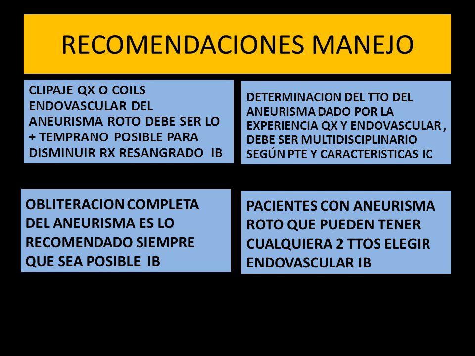 RECOMENDACIONES MANEJO CLIPAJE QX O COILS ENDOVASCULAR DEL ANEURISMA ROTO DEBE SER LO + TEMPRANO POSIBLE PARA DISMINUIR RX RESANGRADO IB OBLITERACION COMPLETA DEL ANEURISMA ES LO RECOMENDADO SIEMPRE QUE SEA POSIBLE IB DETERMINACION DEL TTO DEL ANEURISMA DADO POR LA EXPERIENCIA QX Y ENDOVASCULAR, DEBE SER MULTIDISCIPLINARIO SEGÚN PTE Y CARACTERISTICAS IC PACIENTES CON ANEURISMA ROTO QUE PUEDEN TENER CUALQUIERA 2 TTOS ELEGIR ENDOVASCULAR IB