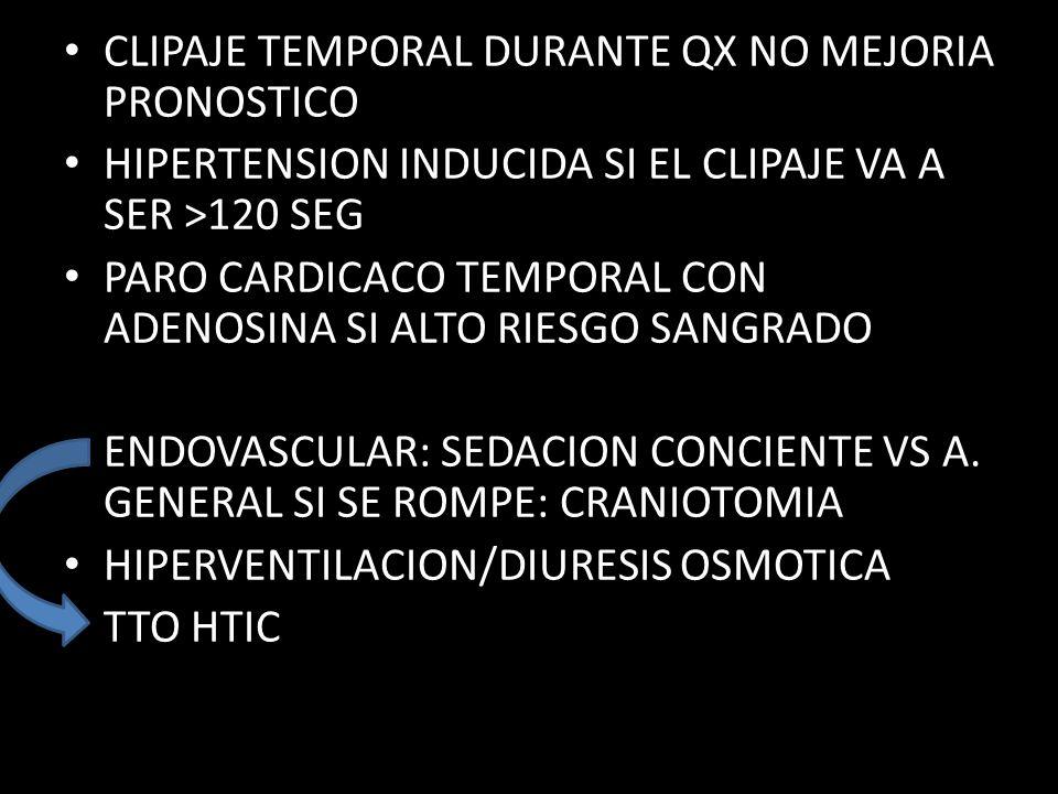 CLIPAJE TEMPORAL DURANTE QX NO MEJORIA PRONOSTICO HIPERTENSION INDUCIDA SI EL CLIPAJE VA A SER >120 SEG PARO CARDICACO TEMPORAL CON ADENOSINA SI ALTO RIESGO SANGRADO ENDOVASCULAR: SEDACION CONCIENTE VS A.