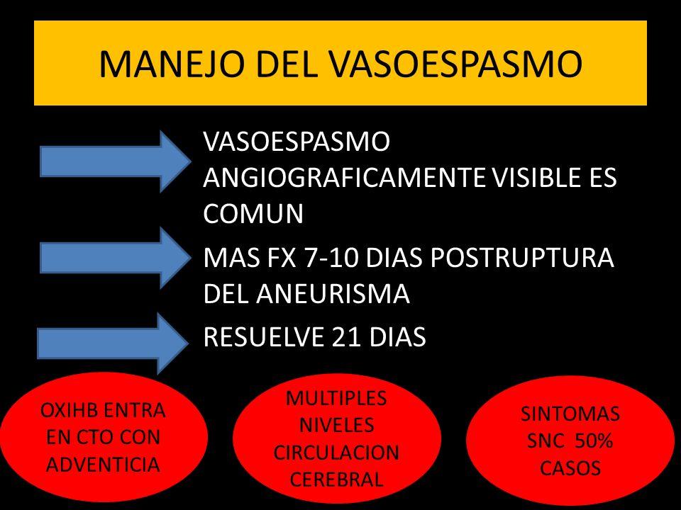MANEJO DEL VASOESPASMO VASOESPASMO ANGIOGRAFICAMENTE VISIBLE ES COMUN MAS FX 7-10 DIAS POSTRUPTURA DEL ANEURISMA RESUELVE 21 DIAS OXIHB ENTRA EN CTO CON ADVENTICIA MULTIPLES NIVELES CIRCULACION CEREBRAL SINTOMAS SNC 50% CASOS