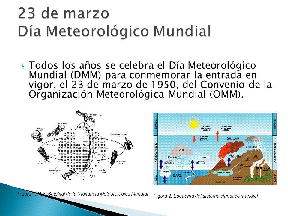 Todos los años se celebra el Día Meteorológico Mundial (DMM) para conmemorar la entrada en vigor, el 23 de marzo de 1950, del Convenio de la Organizac