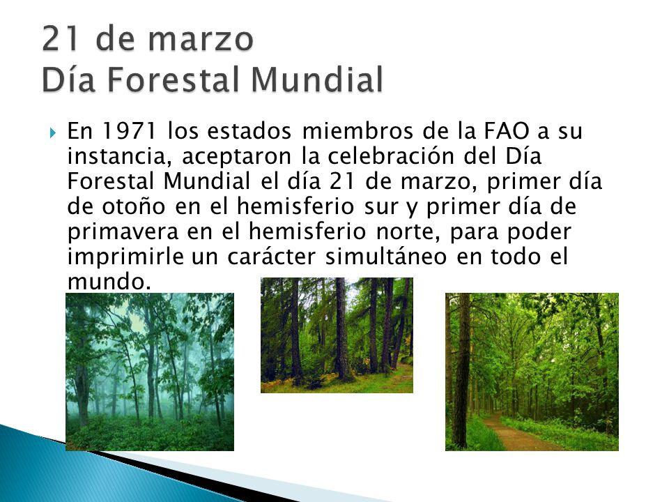 En 1971 los estados miembros de la FAO a su instancia, aceptaron la celebración del Día Forestal Mundial el día 21 de marzo, primer día de otoño en el