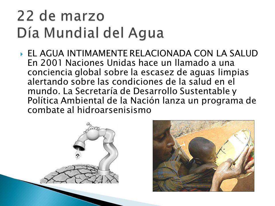 EL AGUA INTIMAMENTE RELACIONADA CON LA SALUD En 2001 Naciones Unidas hace un llamado a una conciencia global sobre la escasez de aguas limpias alertan
