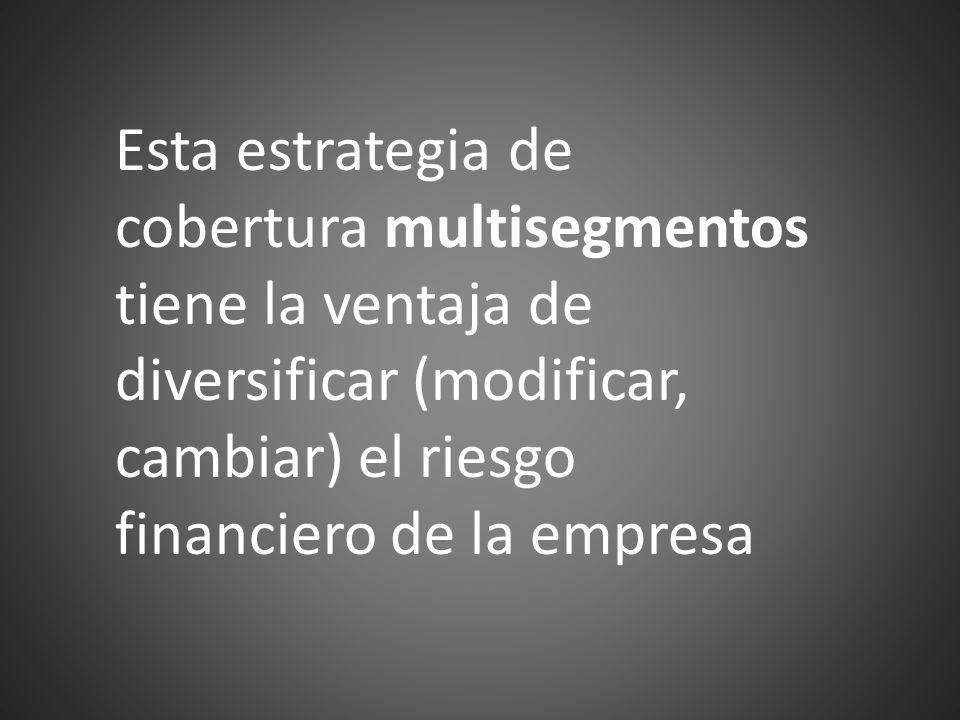 Esta estrategia de cobertura multisegmentos tiene la ventaja de diversificar (modificar, cambiar) el riesgo financiero de la empresa