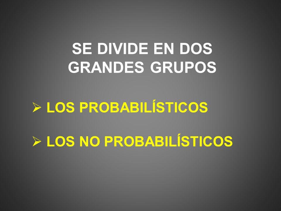 PROBABILISTICOS Aleatorio simple: consiste en seleccionar elementos de las mismas condiciones.