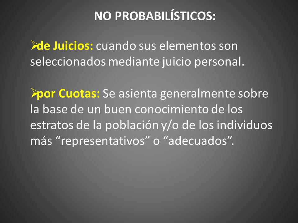 NO PROBABILÍSTICOS: de Juicios: cuando sus elementos son seleccionados mediante juicio personal.
