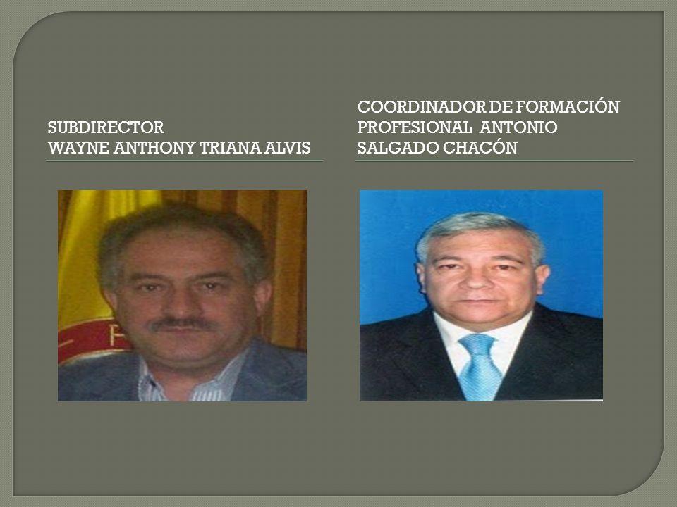 SUBDIRECTOR WAYNE ANTHONY TRIANA ALVIS COORDINADOR DE FORMACIÓN PROFESIONAL ANTONIO SALGADO CHACÓN