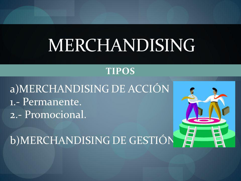 TIPOS MERCHANDISING a)MERCHANDISING DE ACCIÓN 1.- Permanente. 2.- Promocional. b)MERCHANDISING DE GESTIÓN