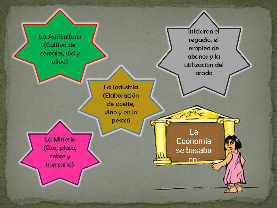 La Agricultura (Cultivo de cereales, vid y olivo) Iniciaron el regadío, el empleo de abonos y la utilización del arado La Industria (Elaboración de ac