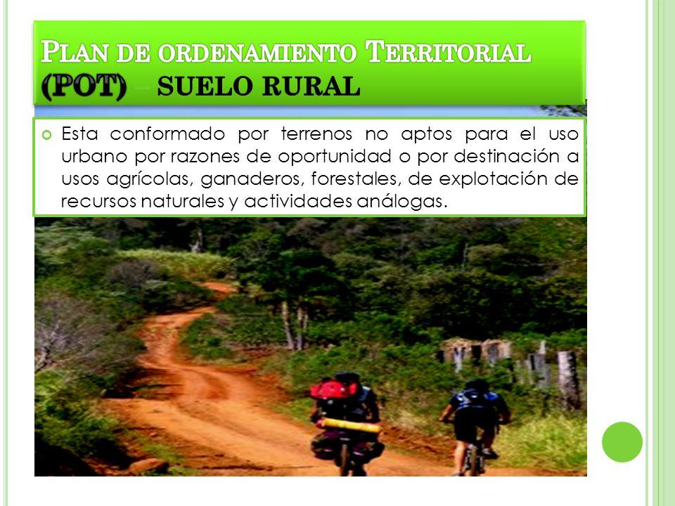 Esta conformado por terrenos no aptos para el uso urbano por razones de oportunidad o por destinación a usos agrícolas, ganaderos, forestales, de expl