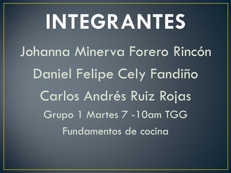 Johanna Minerva Forero Rincón Daniel Felipe Cely Fandiño Carlos Andrés Ruiz Rojas Grupo 1 Martes 7 -10am TGG Fundamentos de cocina