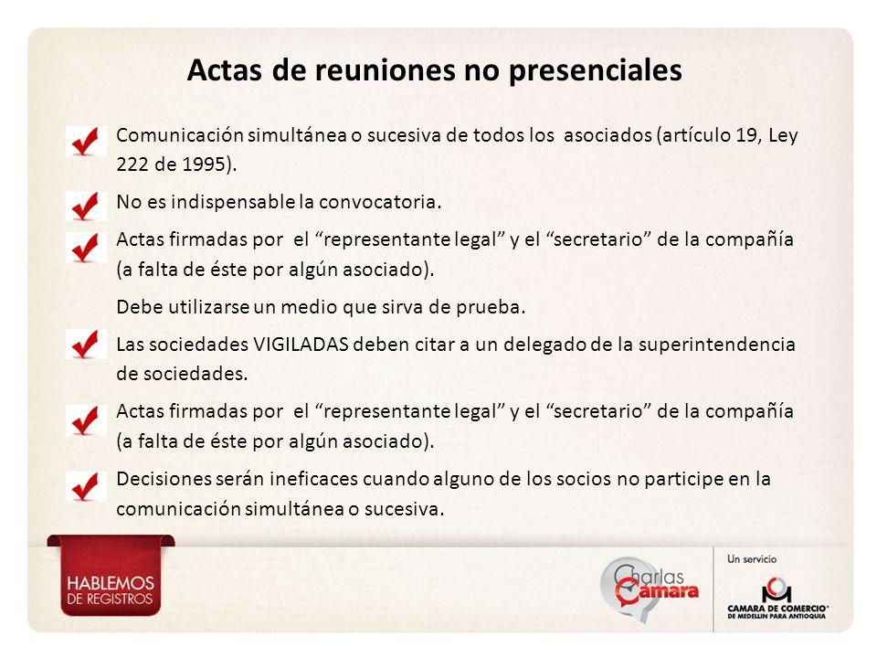 Actas de reuniones no presenciales Comunicación simultánea o sucesiva de todos los asociados (artículo 19, Ley 222 de 1995).