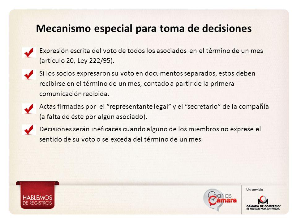Mecanismo especial para toma de decisiones Expresión escrita del voto de todos los asociados en el término de un mes (artículo 20, Ley 222/95).