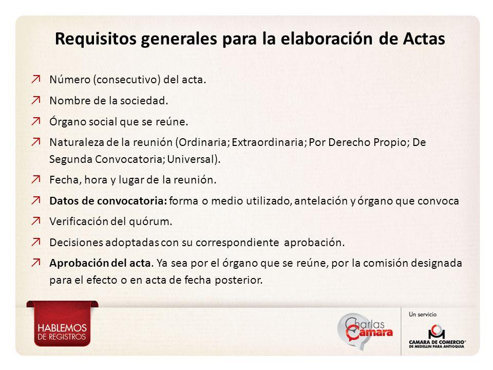 Requisitos generales para la elaboración de Actas Número (consecutivo) del acta.