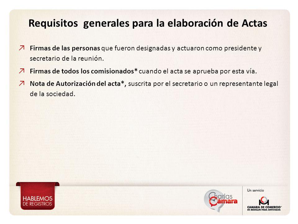Requisitos generales para la elaboración de Actas Firmas de las personas que fueron designadas y actuaron como presidente y secretario de la reunión.