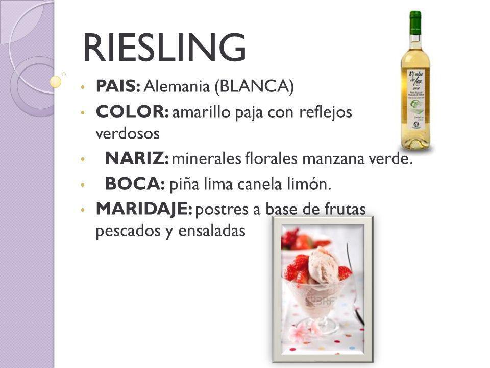 RIESLING PAIS: Alemania (BLANCA) COLOR: amarillo paja con reflejos verdosos NARIZ: minerales florales manzana verde.