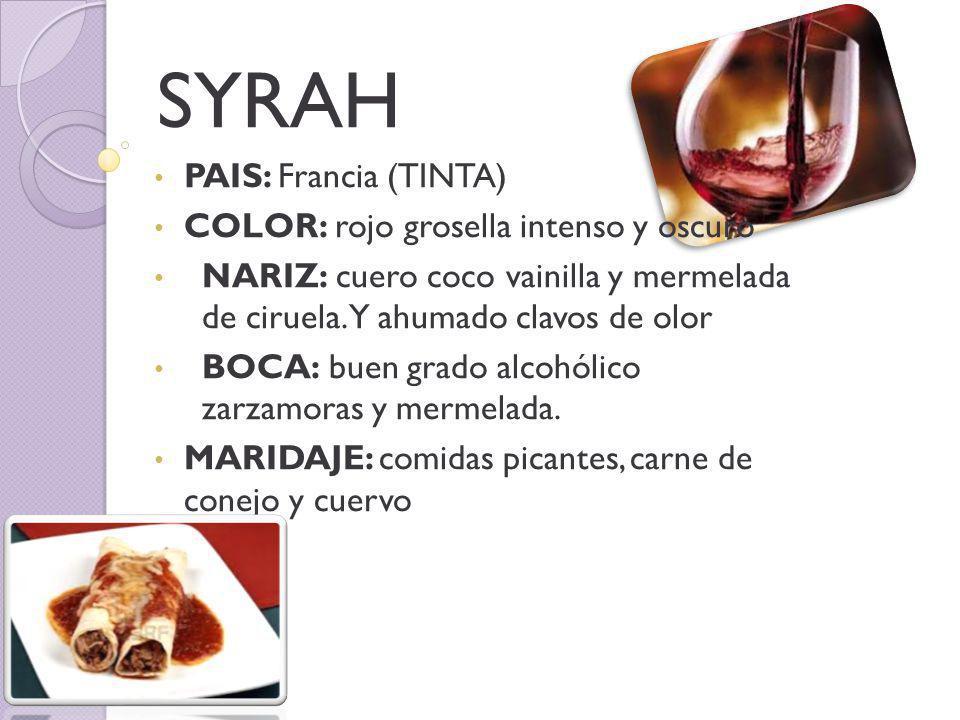 SYRAH PAIS: Francia (TINTA) COLOR: rojo grosella intenso y oscuro NARIZ: cuero coco vainilla y mermelada de ciruela.
