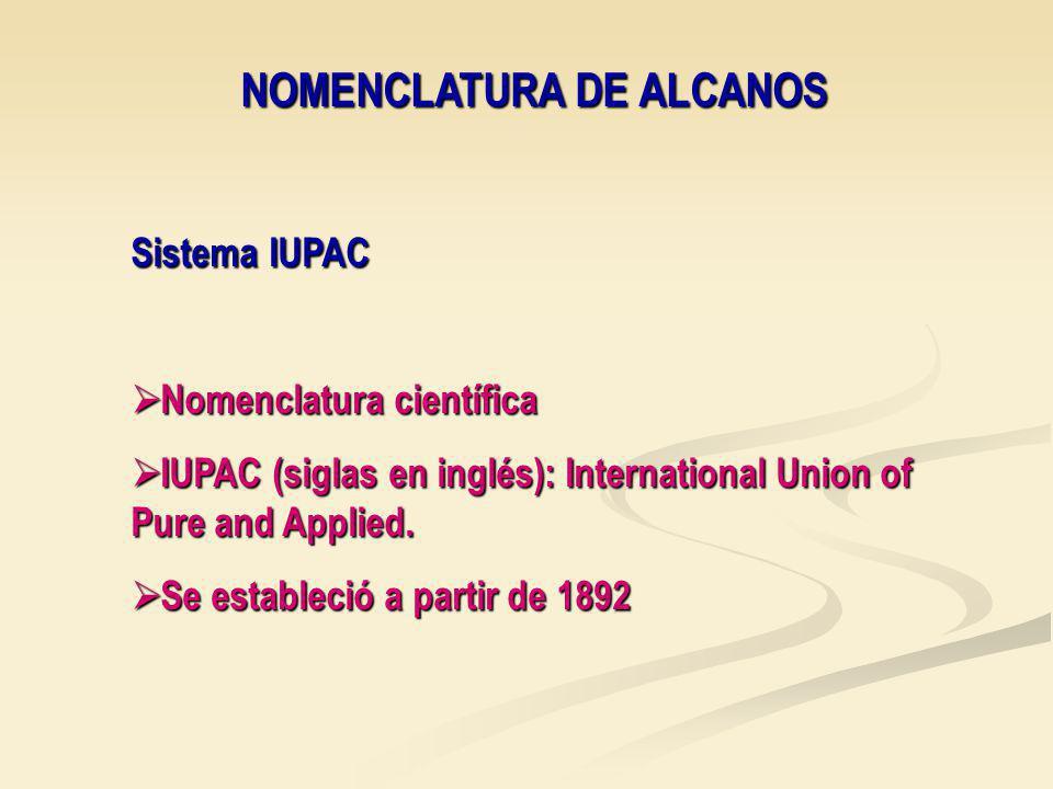NOMENCLATURA DE ALCANOS Sistema IUPAC Nomenclatura científica Nomenclatura científica IUPAC (siglas en inglés): International Union of Pure and Applied.