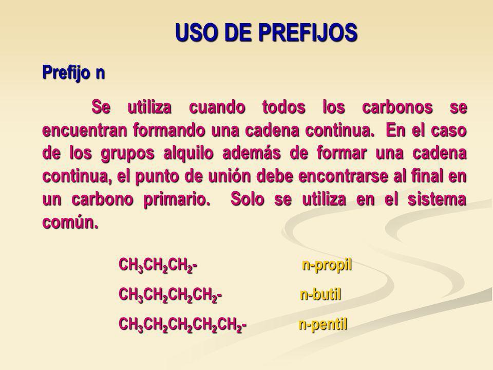 USO DE PREFIJOS Prefijo n Se utiliza cuando todos los carbonos se encuentran formando una cadena continua.