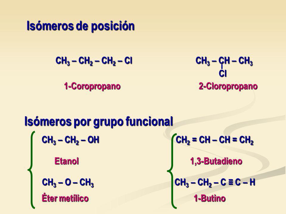 Isómeros de posición CH 3 – CH 2 – CH 2 – Cl CH 3 – CH – CH 3 CH 3 – CH 2 – CH 2 – Cl CH 3 – CH – CH 3 Cl Cl 1-Coropropano 2-Cloropropano 1-Coropropano 2-Cloropropano Isómeros por grupo funcional CH 3 – CH 2 – OH CH 2 = CH – CH = CH 2 CH 3 – CH 2 – OH CH 2 = CH – CH = CH 2 Etanol 1,3-Butadieno Etanol 1,3-Butadieno CH 3 – O – CH 3 CH 3 – CH 2 – C C – H CH 3 – O – CH 3 CH 3 – CH 2 – C C – H Éter metílico 1-Butino Éter metílico 1-Butino