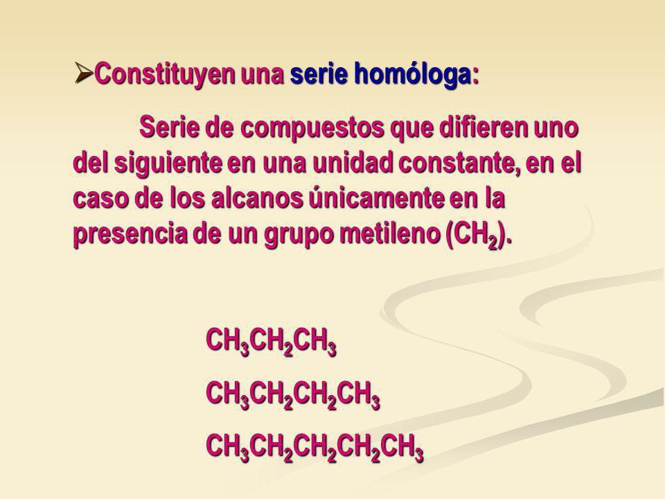 Constituyen una serie homóloga: Constituyen una serie homóloga: Serie de compuestos que difieren uno del siguiente en una unidad constante, en el caso de los alcanos únicamente en la presencia de un grupo metileno (CH 2 ).