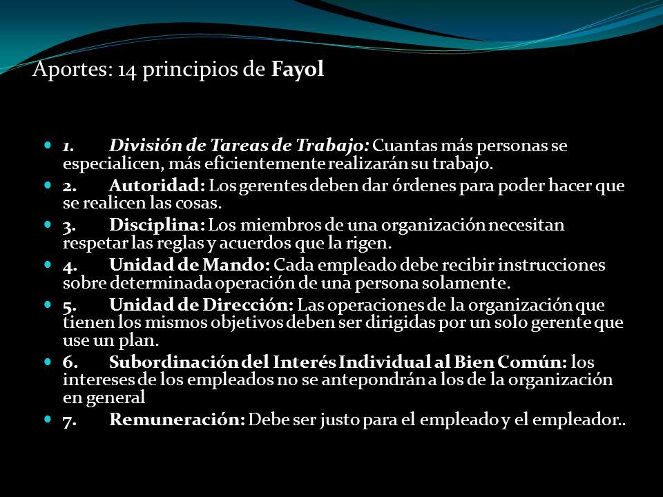 Aportes: 14 principios de Fayol 1.División de Tareas de Trabajo: Cuantas más personas se especialicen, más eficientemente realizarán su trabajo. 2.Aut