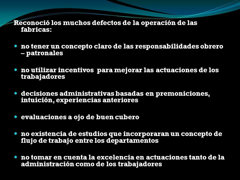 Reconoció los muchos defectos de la operación de las fabricas: no tener un concepto claro de las responsabilidades obrero – patronales no utilizar inc