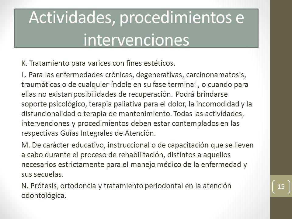 Actividades, procedimientos e intervenciones K. Tratamiento para varices con fines estéticos. L. Para las enfermedades crónicas, degenerativas, carcin