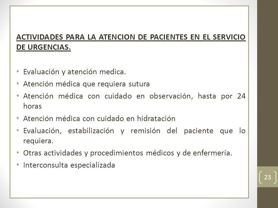 ACTIVIDADES PARA LA ATENCION DE PACIENTES EN EL SERVICIO DE URGENCIAS. Evaluación y atención medica. Atención médica que requiera sutura Atención médi