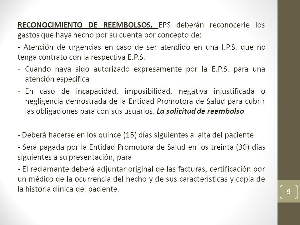 RECONOCIMIENTO DE REEMBOLSOS.