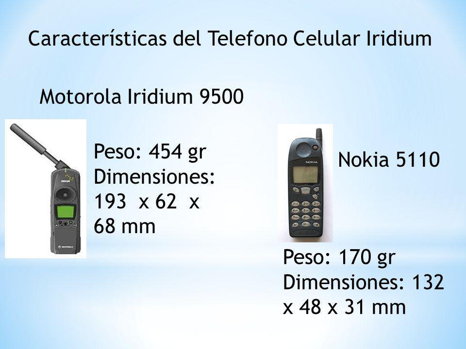 Características del Telefono Celular Iridium Motorola Iridium 9500 Nokia 5110 Peso: 454 gr Dimensiones: 193 x 62 x 68 mm Peso: 170 gr Dimensiones: 132 x 48 x 31 mm