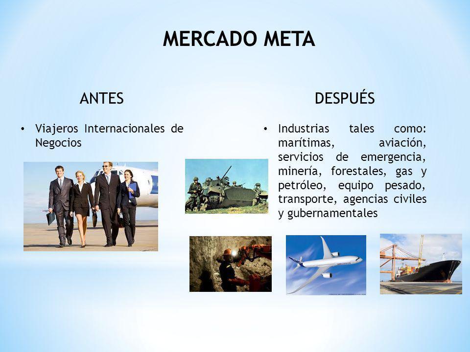MERCADO META ANTES Viajeros Internacionales de Negocios DESPUÉS Industrias tales como: marítimas, aviación, servicios de emergencia, minería, forestales, gas y petróleo, equipo pesado, transporte, agencias civiles y gubernamentales