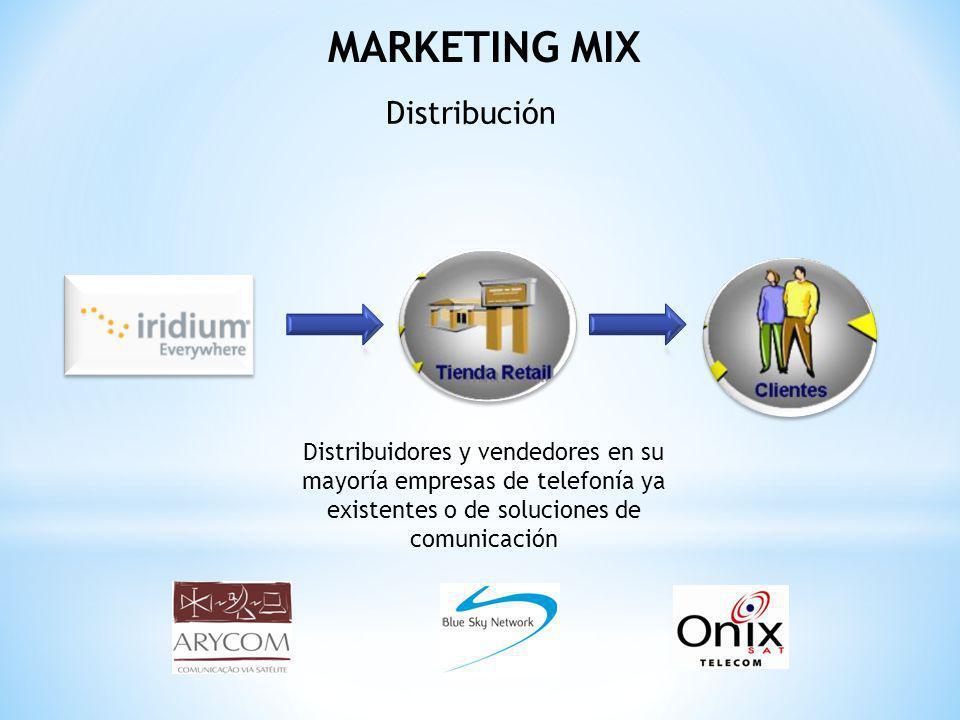 MARKETING MIX Distribución Distribuidores y vendedores en su mayoría empresas de telefonía ya existentes o de soluciones de comunicación